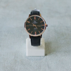 Christyan Arden Full Grain Leather CA0017 Black - Black Dial (Pria)