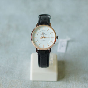 Christyan Arden Full Grain Leather CA0018 Black - White Dial (Wanita)