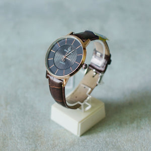 Christyan Arden Full Grain Leather CA0018 Brown - Black Dial (Pria)