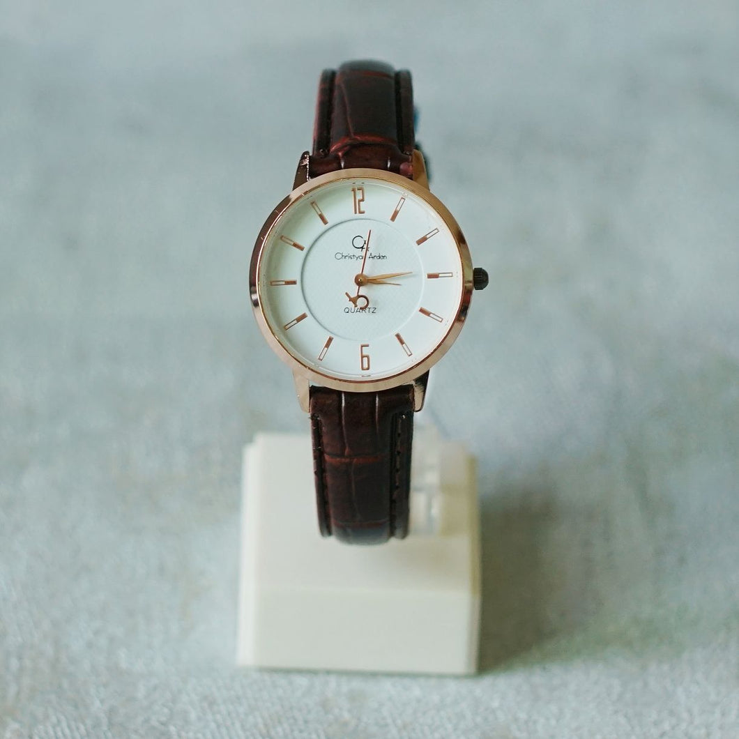 Christyan Arden Full Grain Leather CA0014 Brown - White Dial (Wanita)