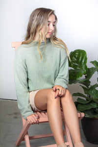Aria Mock Neck Cropped Sweater