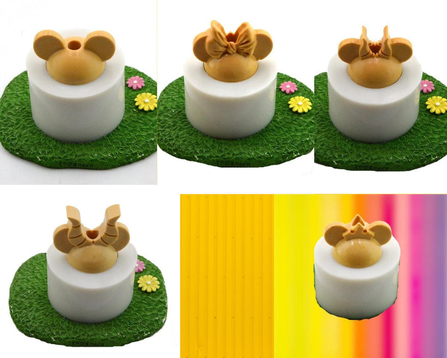 Mouse straw topper mold with crown | silicone shiny finish straw topper mold | Mickey inspired mold