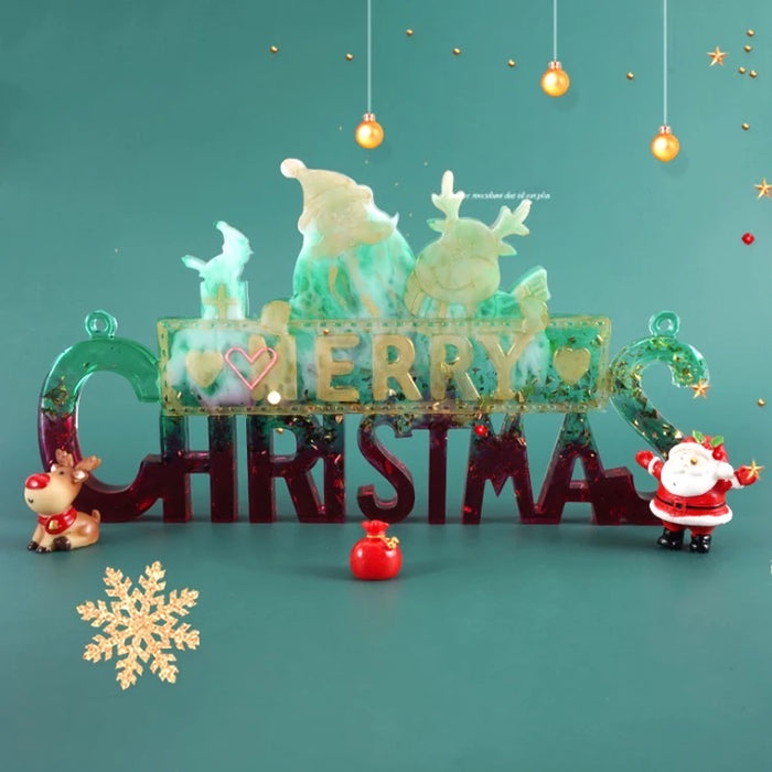 Merry Christmas Décor Sign Silicone Mold | Merry Christmas Sign Resin Mold | Holidays Christmas Decor Mold for DIY Resin Casting