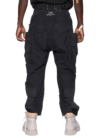 CONTRAST TONE PATCHED GEO-CARGO MILITARY PANTS / BLACK
