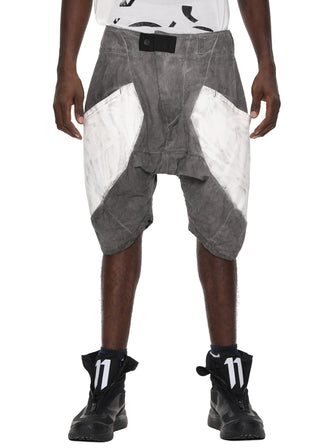 VOLCANIC GRAY DYED PANEL PRINTED LINEN SHORTS