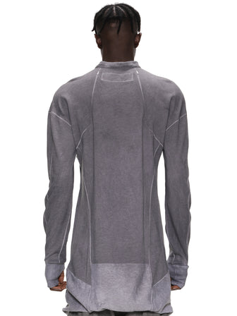 GRAY DYED ZIPPED OPENING SEAM LONG PULLOVER / GRAY
