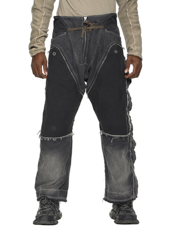 CONTRASTING PATCHWORK CARGO JEANS