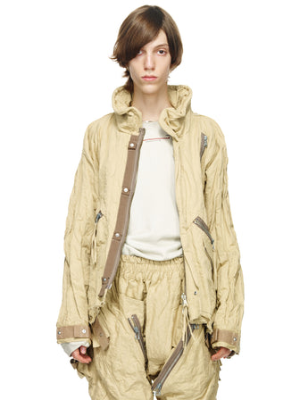 STAINLESS COTTON WIRED COLLAR CROPPED PARKA