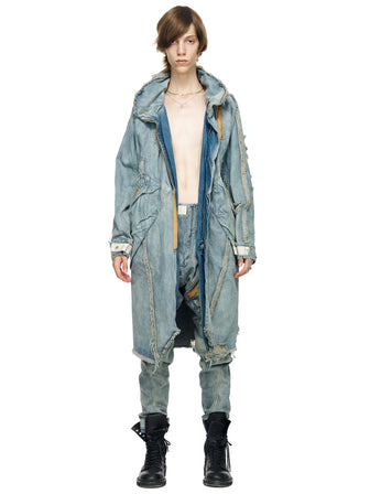 DISTRESSED VINTAGE DENIM CARGO LONG PARKA