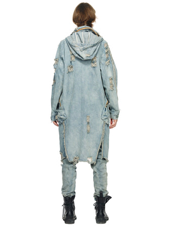 DISTRESSED VINTAGE DENIM CARGO LONG PARKA - HAMCUS