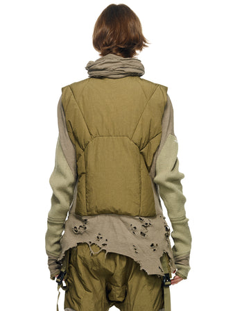 GEO-CUT DISTRESSED HEM DOWN VEST - HAMCUS