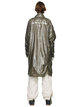 PRINTED GEO ASYMMETRY LINE GLOSSY RAINCOAT - HAMCUS