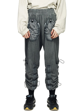 STRAPS CALF KANGAROO JOGGING PANTS - DYED