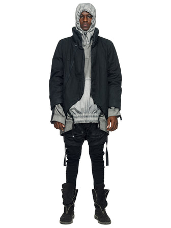 ZIPPER RIPPED SPINE PADDED COAT - DYED