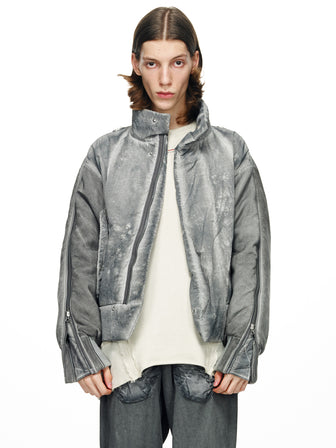 SPLIT SLEEVE PADDED JACKET - DYED