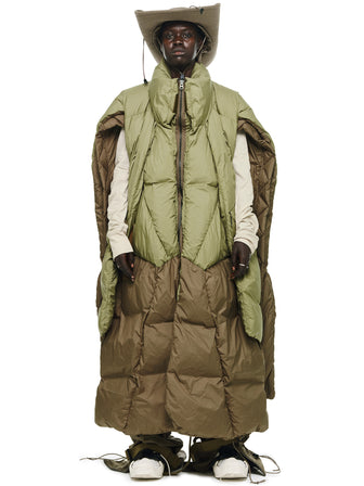 THE RAVENGERS GEO-LAYERED MULTI FORM DOWN PUFFER PONCHO