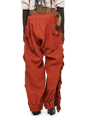 ONCE UPON A TIME COWBOY CHAPS DENIM PANTS WITH RIBBED FRINGED