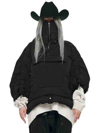 SPACECOWBOY PYRAMID COLLAR CROPPED PUFFER
