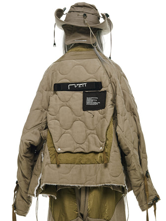 RVEN QUILTED LAYERED TONAL PATCHED JACKET