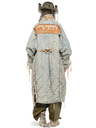 THE GRANDMASTER HEAVY DENIM QUILTED PATCHED VINTAGE ROBE - HAMCUS