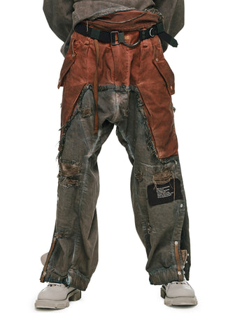 2-TONED OVERDYED COWBOY CHAPS PANTS - HAMCUS