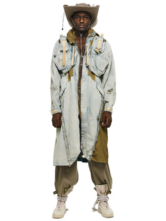 """MUTANT V2""  MODULAR DIS-INTEGRATION DENIM COAT - HAMCUS"