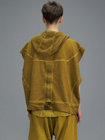 PERFORATED NET HOODED TANKTOP-DIP DYED - HAMCUS