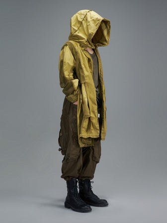 REVERSABLE PERFORATED NET LAYERED PARKA - SULPHUR