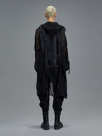 """KRAKEN"" PERFORATED NET SHOULDER SLING STRAPS LONG COAT"