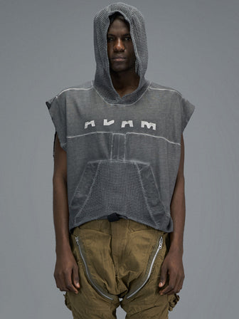 PERFORATED NET HOODED TANKTOP - HAMCUS