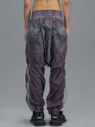 GEO-POCKETS SPLIT LEG WB PANTS / NIGHTSHADE