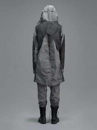 REVERSABLE PERFORATED NET LAYERED PARKA - VOLCANIC DYED