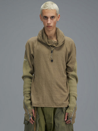 ZIPPER GLOVE RIBBED SLEEVE RAW KNITTED HOODIE