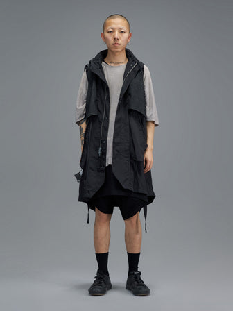 REVERSABLE WB KNIT LAYERED LONG VEST