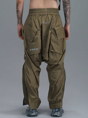 GEO-POCKETS SPLIT LEG WB PANTS