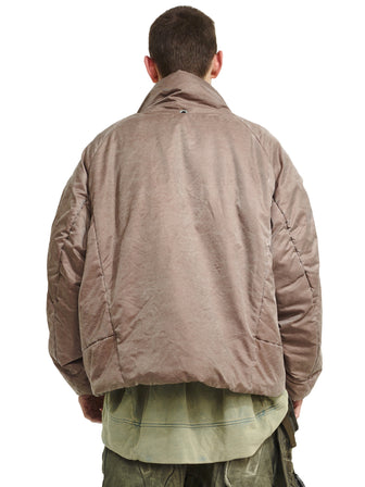 Geo-cargo quilted bomber jacket
