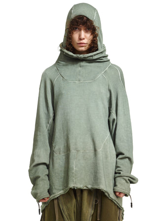 HOOD-MASK PULLOVER WITH MAYA-STUDS DYED