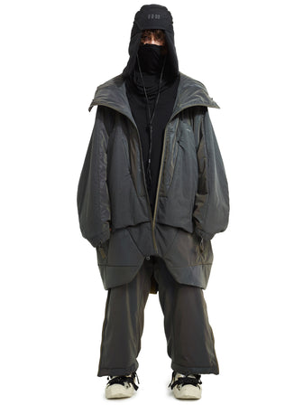 aurora reflective geo panel layer thermolite quilted long coat