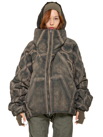Quilted pyra-hood jacket