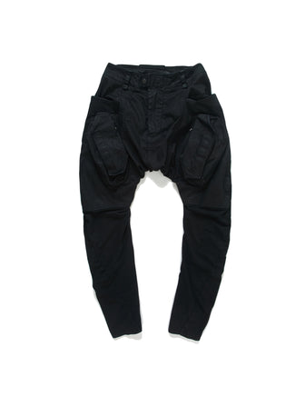 KNIT PATCHED LEGGING CARGO JEANS / DARK ASPHALT