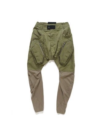 KNIT PATCHED LEGGING CARGO JEANS / MILITARY OLIVE