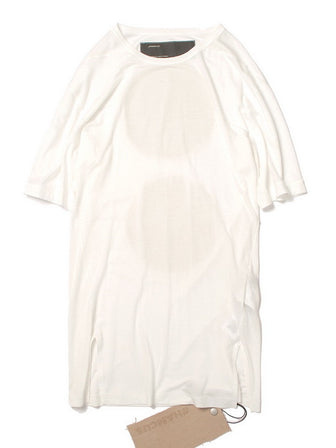 00 DISTRESSED MATTE ROUND PRINTED TENCEL COTTON TEE / OFF WHITE - HAMCUS