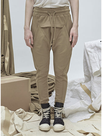 GEO-CUT DROPCROTCH SWEAT PANTS - HAMCUS