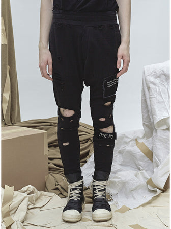 7 SINS STRAPS EMBROIDERY DESTROYED PANTS - HAMCUS