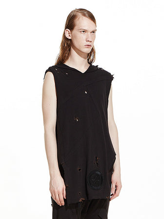 """HATE"" BURN-OUT DETAILS SLEEVELESS HOODED TANK TOP - HAMCUS"