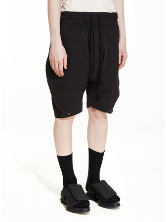 CEO-CUT DROPCROTCH LOUNGE SHORTS / BLACK - HAMCUS