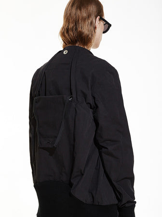 HIDDEN BACKPACK GEOMETRIC CUT BOMBER JACKET - HAMCUS