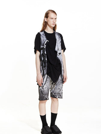 WANDERER'S HOOKED ATTACHED GEO-CUT KNIT VEST / COAL WHITE DYE - HAMCUS