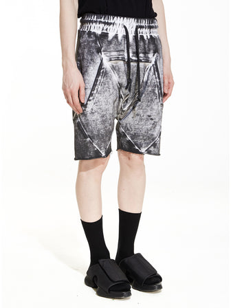 COAL WHITE DYE WASHED CEO-CUT LOUNGE SWEAT SHORTS - HAMCUS