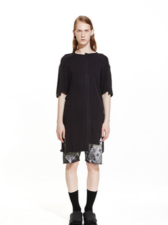 SILK DISLOCATION CONTRAST STITCHING JERSEY T-SHIRT / BLACK - HAMCUS